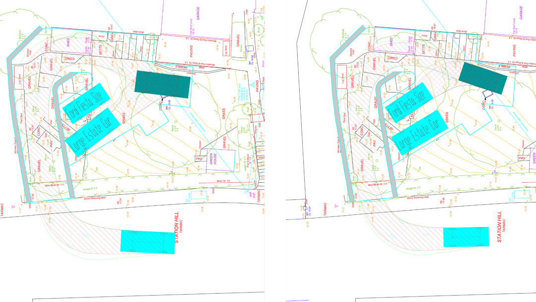 Parking solution using swept path analysis option B by jghighwaydesign.uk