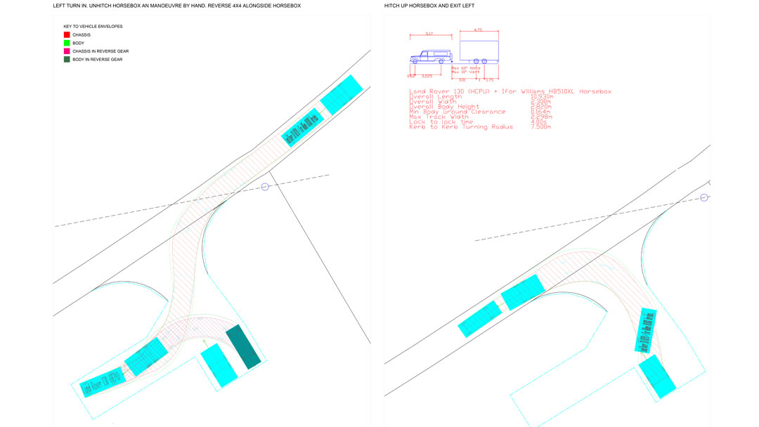 Turning area design for horse box using swept path analysis by jghighwaydesign.uk